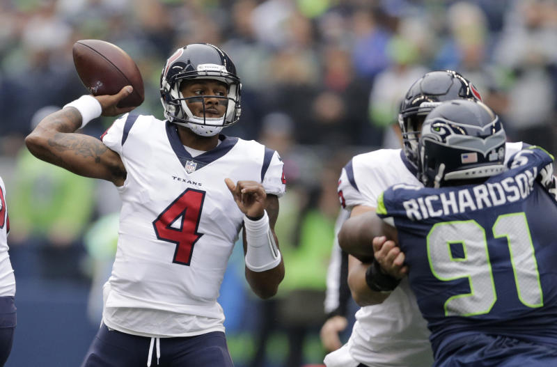 Houston Texans quarterback Deshaun Watson continued his breakout season with a big game against the Seahawks. (AP)