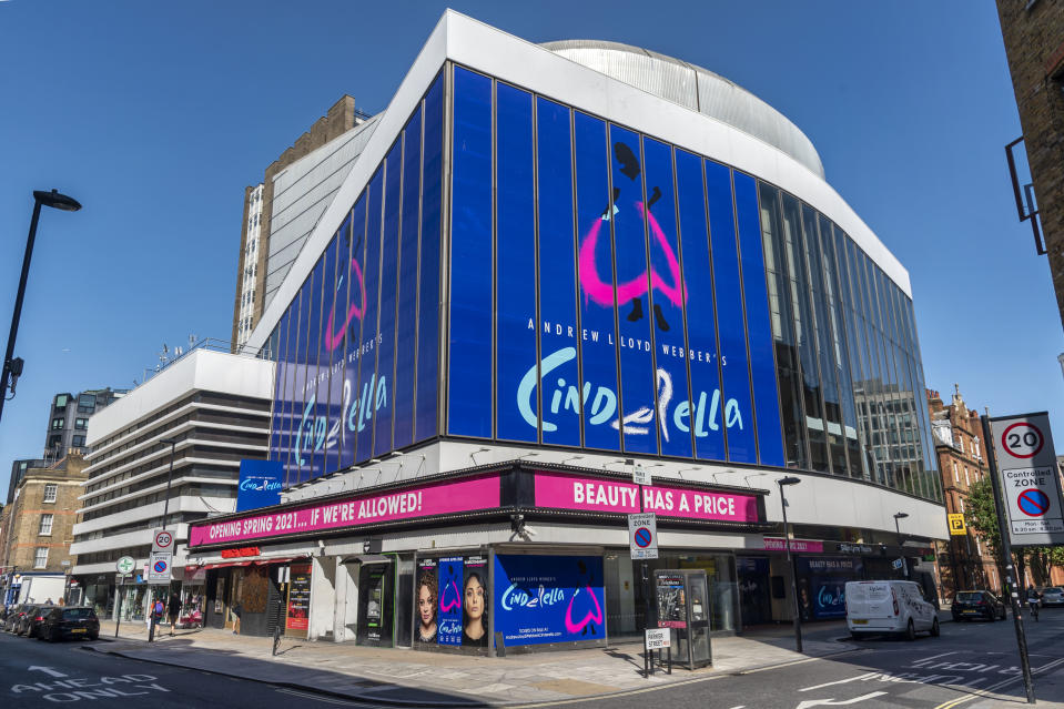 Andrew Lloyd Webber�s Cinderella his latest musical comedy starring Carrie Hope Fletcher which is due to reopen at the Gillian Lynne Theater in London�s west end in April 2021. The Theater has a sign saying 'Opening Spring 2021... If We're Allowed!' in reference to Theaters being closed at present to the Covid-19 pandemic. (Photo by Dave Rushen / SOPA Images/Sipa USA)
