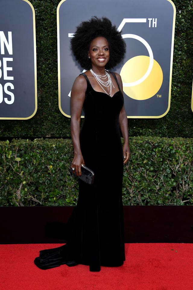 The <em>How to Get Away With Murder</em> actress attends the 75th Annual Golden Globe Awards at the Beverly Hilton Hotel in Beverly Hills, Calif., on Jan. 7, 2018. (Photo: Steve Granitz/WireImage)