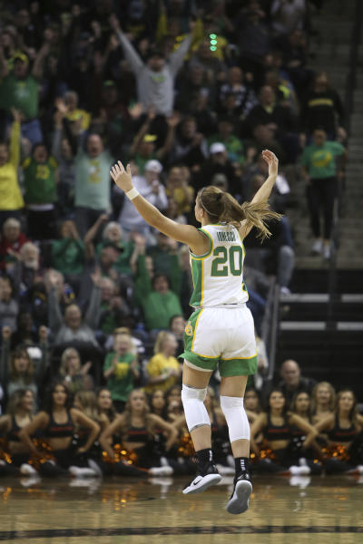 Oregon's Sabrina Ionescu celebrates a three-point basket against Oregon State during the first quarter of an NCAA college basketball game in Eugene, Ore., Friday, Jan. 24, 2020. (AP Photo/Chris Pietsch)