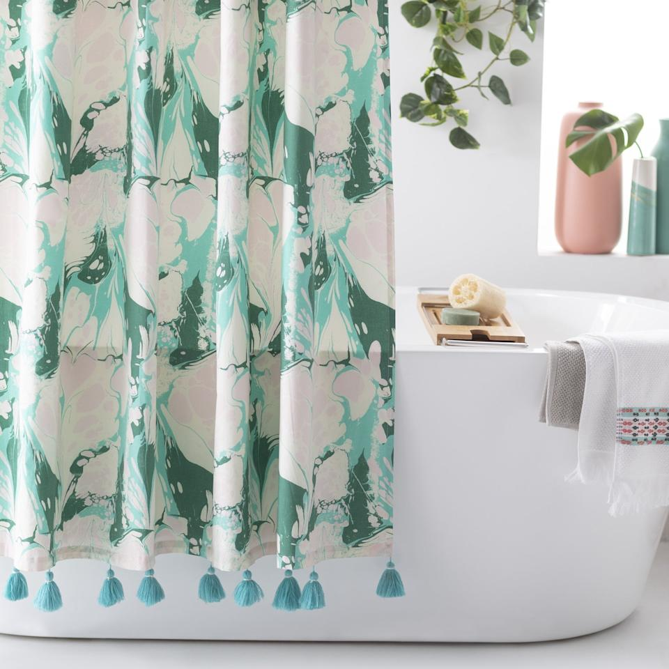 """<p>Spice up your bathroom with this <a href=""""https://www.popsugar.com/buy/Vintage-Marble-Shower-Curtain-Drew-Barrymore-Flower-Home-428429?p_name=Vintage%20Marble%20Shower%20Curtain%20by%20Drew%20Barrymore%20Flower%20Home&retailer=walmart.com&pid=428429&price=25&evar1=casa%3Aus&evar9=46598422&evar98=https%3A%2F%2Fwww.popsugar.com%2Fphoto-gallery%2F46598422%2Fimage%2F46598435%2FVintage-Marble-Shower-Curtain-by-Drew-Barrymore-Flower-Home&list1=shopping%2Chome%20decor%2Chome%20shopping&prop13=api&pdata=1"""" rel=""""nofollow"""" data-shoppable-link=""""1"""" target=""""_blank"""" class=""""ga-track"""" data-ga-category=""""Related"""" data-ga-label=""""https://www.walmart.com/ip/Vintage-Marble-Shower-Curtain-by-Drew-Barrymore-Flower-Home/636349944"""" data-ga-action=""""In-Line Links"""">Vintage Marble Shower Curtain by Drew Barrymore Flower Home</a> ($25).</p>"""