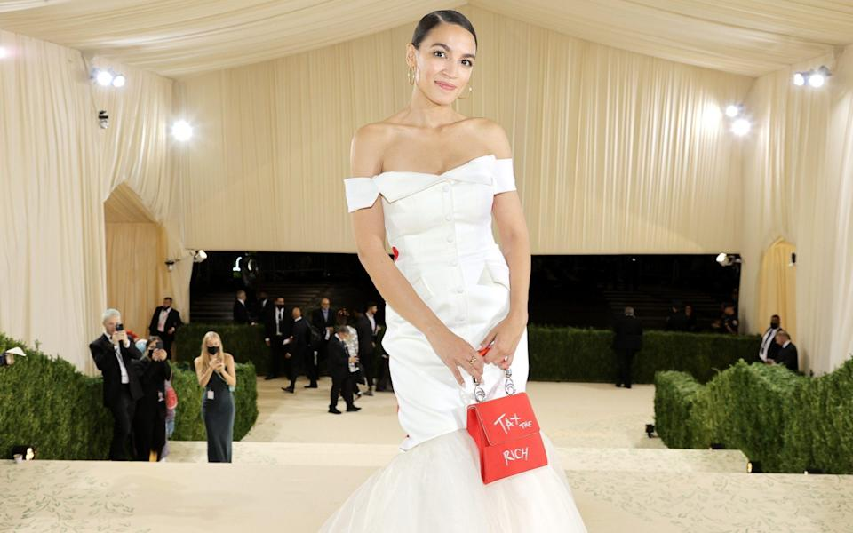 Alexandria Ocasio-Cortez sports a 'Tax the Rich' dress at New York's elite Met Gala - Jamie McCarthy/MG21 /Getty Images North America