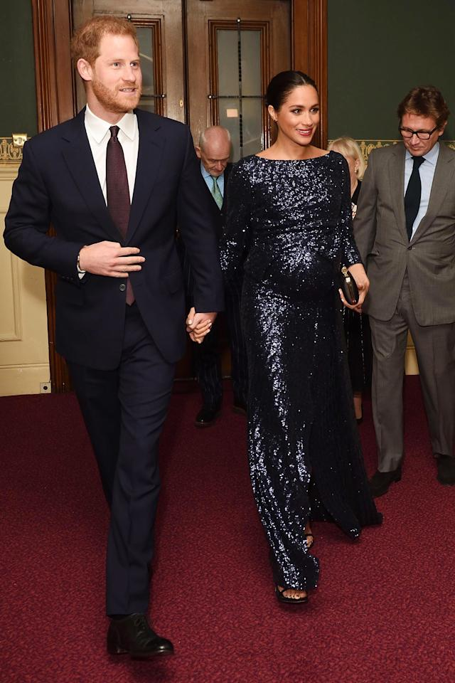 Meghan upped the glam factor for a performance of Totem by Cirque du Soleil held at Royal Albert Hall in January, opting for a midnight blue sequined gown.