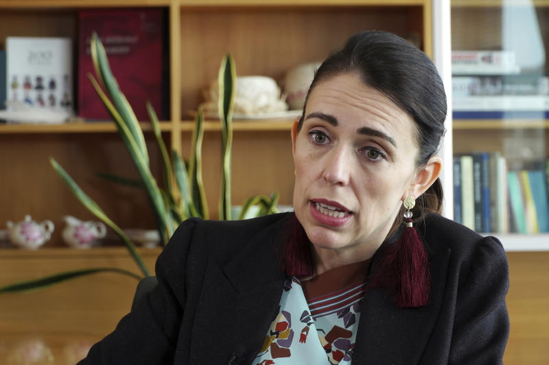 In this image made from video, New Zealand's Prime Minister Jacinda Ardern speaks during an interview in Wellington, New Zealand, Thursday, Dec. 5, 2019. Ardern said she'll do all she can to stop a man accused of killing 51 Muslim worshippers from spreading his message of hate at his trial. She also hopes artificial intelligence will one day stop such attacks from being broadcast online. (AP Photo/Sam James)