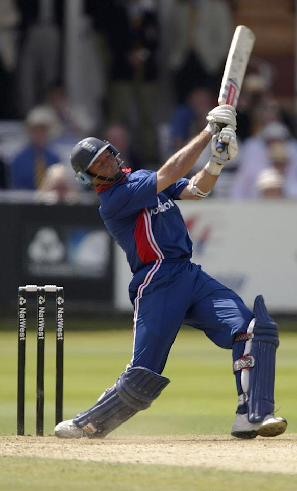 LONDON, ENGLAND - JULY 13:  Nasser Hussain of England on his way to his century during the match between England and India in the NatWest One Day Series Final at Lord's in London, England on July 13, 2002. (Photo by Clive Mason/Getty Images)
