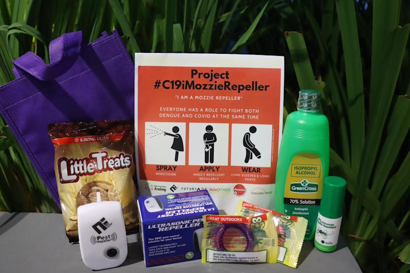 A dengue prevention Care Kit by the #C19iMozzieRepeller charity initiative. (PHOTO: Character and Leadership Academy)