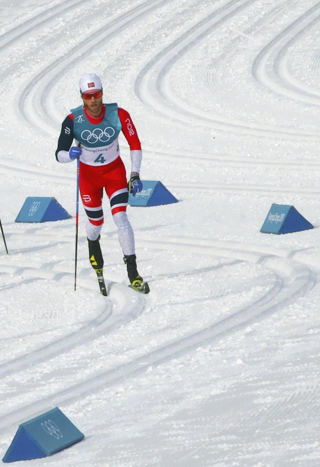 Cross-Country Skiing - Pyeongchang 2018 Winter Olympics - Men's 50km Mass Start Classic - Alpensia Cross-Country Skiing Centre - Pyeongchang, South Korea - February 24, 2018 - Martin Johnsrud Sundby of Norway in action. REUTERS/Carlos Barria