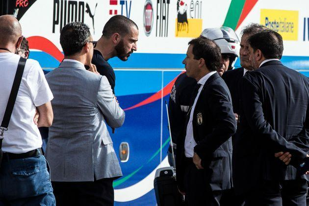 Italian player Leonardo Bonucci leaves the Quirinale Palace at the end of the meeting with the Italian President Sergio Mattarella to celebrate the Italy national football team that returned from London after winning the UEFA EURO 2020 championship, Rome, Italy, 12 July 2021. ANSA/ANGELO CARCONI (Photo: ANGELO CARCONI ANSA)