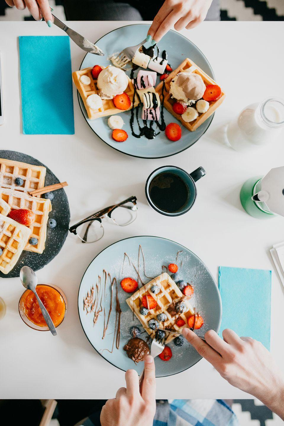 """<p>Go all out and whip up a few <a href=""""https://www.countryliving.com/food-drinks/g665/brunch-recipes/"""" rel=""""nofollow noopener"""" target=""""_blank"""" data-ylk=""""slk:yummy breakfast dishes"""" class=""""link rapid-noclick-resp"""">yummy breakfast dishes</a> at home while you sip on <a href=""""https://www.countryliving.com/food-drinks/g3073/mimosa-recipe/"""" rel=""""nofollow noopener"""" target=""""_blank"""" data-ylk=""""slk:homemade mimosas"""" class=""""link rapid-noclick-resp"""">homemade mimosas</a>. </p>"""