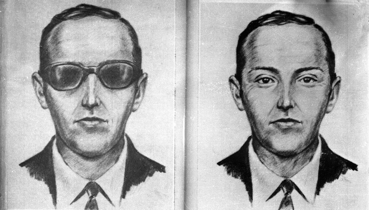 FILE--A 1971 artist's sketch released by the FBI shows the skyjacker known as 'Dan Cooper' and 'D.B. Cooper', was made from the recollections of passengers and crew of a Northwest Orient Airlines jet he hijacked between Portland and Seattle, Nov. 24, 1971, Thanksgiving eve. FBI spokeswoman Ayn Sandalo Dietrich tells The Seattle Times that a law enforcement member directed investigators to a person who might have helpful information on Cooper. (AP Photo/FBI/file)