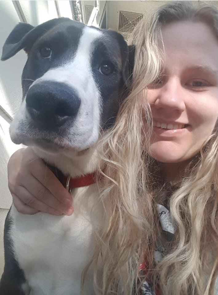 Bowie and Bella Cook in selfie shared before the dog's accident on Wednesday. Source: Supplied