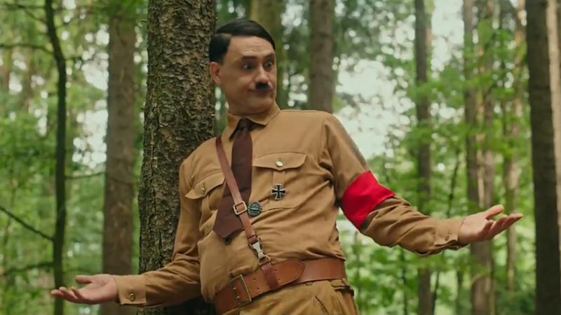 Taika Waititi plays an imaginary friend version of Adolf Hitler in 'Jojo Rabbit'. (Credit: Fox)