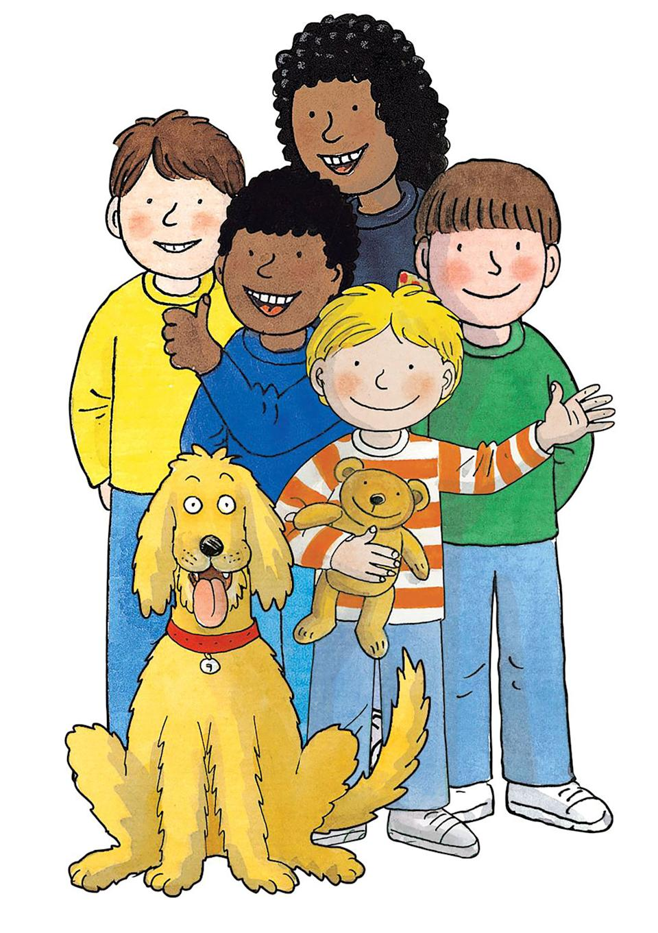 Biff, Chip, Kipper and Floppy with friends Wilf and Wilma as they appear in the books' illustrations. (Oxford Owl)