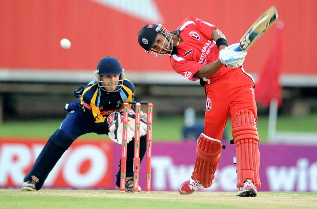 PRETORIA, SOUTH AFRICA - OCTOBER 10: William Perkins of Trinidad & Tobago bats during the Karbonn Smart CLT20 pre-tournament Qualifying Stage match between Yorkshire (England) and Trinidad and Tobago (West Indies) at SuperSport Park on October 10, 2012 in Pretoria, South Africa.  (Photo by Lee Warren / Gallo Images / Getty Images)