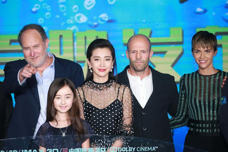"American film director and producer Jon Turteltaub, child actress Shuya Sophia Cai, actress Li Bingbing, English actor Jason Statham and Australian actress Ruby Rose attend the premiere of ""The Meg"" on Aug. 2 in Beijing. (VCG via Getty Images)"