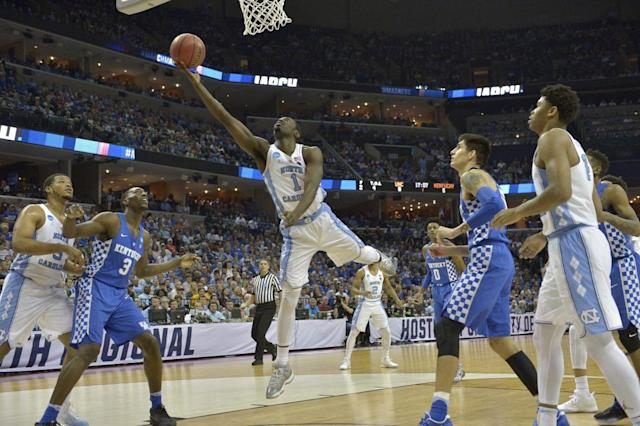 The South Regional final between North Carolina and Kentucky was a rematch of a regular season classic. (AP)