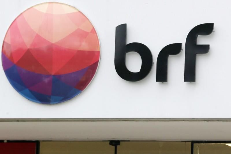 A meatpacking company BRF SA's logo is pictured in Sao Paulo
