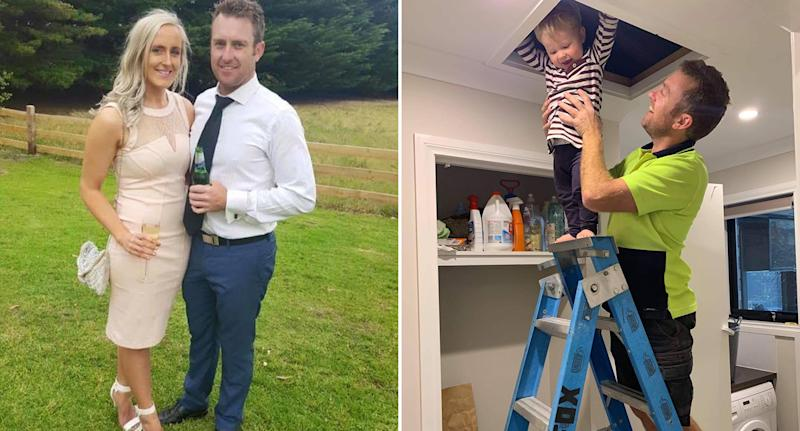 Left, Jarrod is pictured with his fiancee Charmaine. Right, Jarrod is seen lifting his son Archer to the top of his ladder while wearing his tradie outfit. Source: Supplied