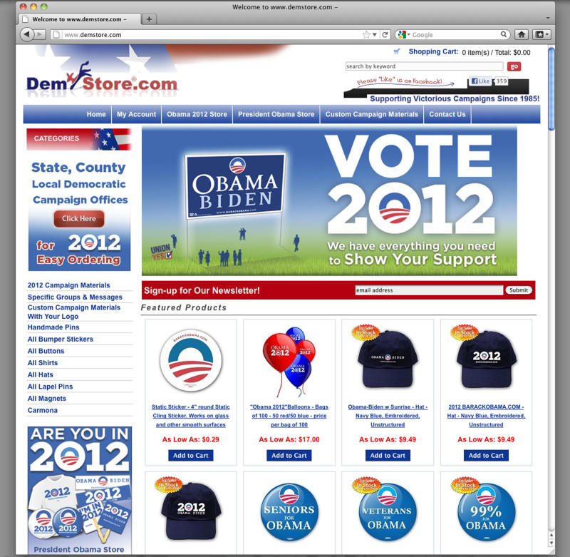 "This image obtained by The Associated Press shows the website of Demstore.com, which sells President Barack Obama 2012 re-election material. President Barack Obama's re-election campaign is suing a website that sells T-shirts, bumper stickers and buttons with the campaign's signature ""O"" logo, claiming the store is infringing on its trademark.  (AP Photo)"