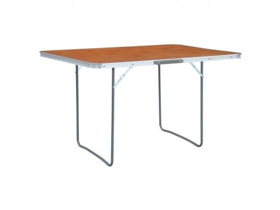 Sit down to eat with this sturdy, portable table (Wayfair)