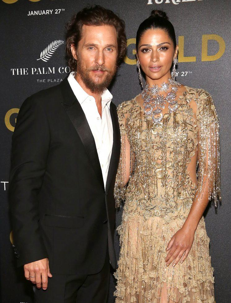 Matthew McConaughey and Camila Alves have a boozy meet-cute story. (Photo: Sylvain Gaboury/Patrick McMullan via Getty Images)