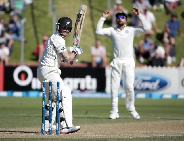 New Zealand's Brendon McCullum misses a shot during the second innings on day three of the second international test cricket match against India at the Basin Reserve in Wellington, February 16, 2014. REUTERS/Anthony Phelps (NEW ZEALAND - Tags: SPORT CRICKET)