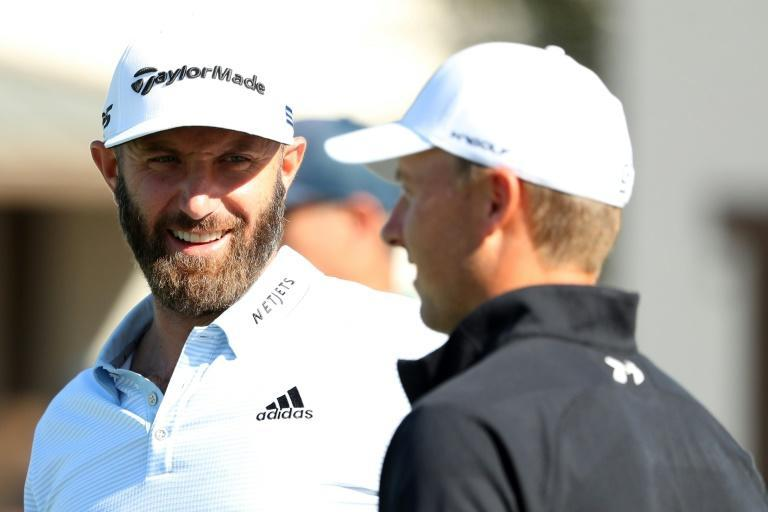 World number one Dustin Johnson, left, and fellow American Jordan Spieth spoke on the putting green on Wednesday at the US PGA Houston Open