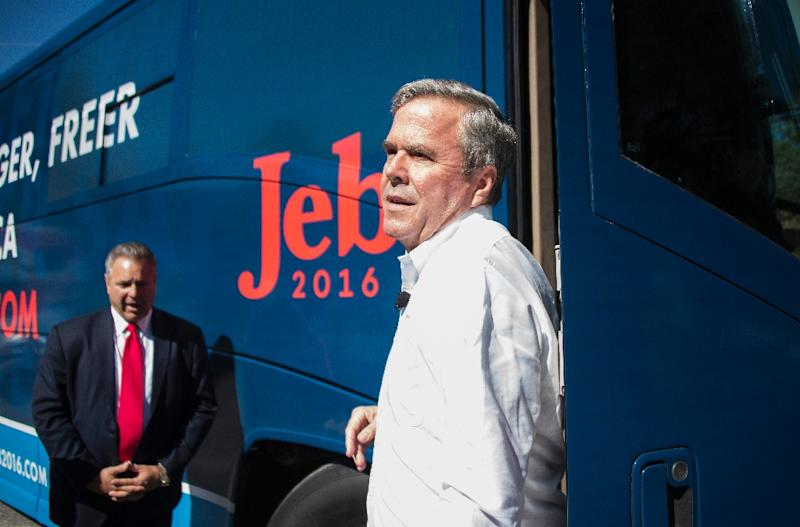 At debates Republican presidential candidate Jeb Bush seemed tongue-tied; on the campaign trail, he was flat-footed and seemed tepid and at times even testy as he traveled the country (AFP Photo/Jim Watson)