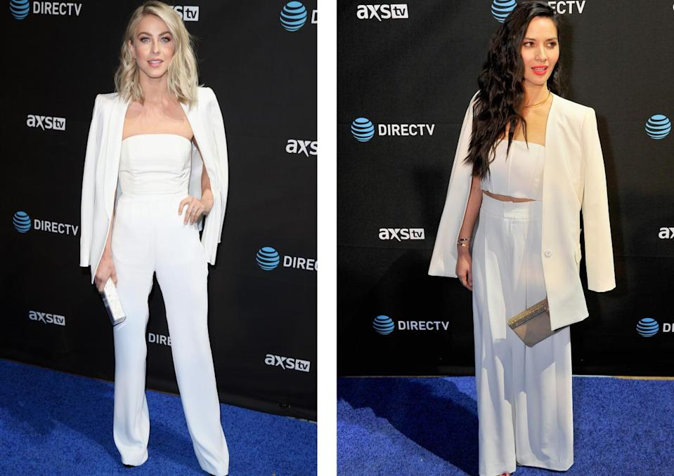 <p>Despite rocking almost identical looks, actress Julianne Hough was wearing an Alexia Maria top and a Paule Ka blazer to the DirecTV's Super Saturday Night while 'X Men: Apocalypse' star Olivia Munn donned a very similar Alice + Olivia three-piece. <i>[Photo: Getty]</i></p>