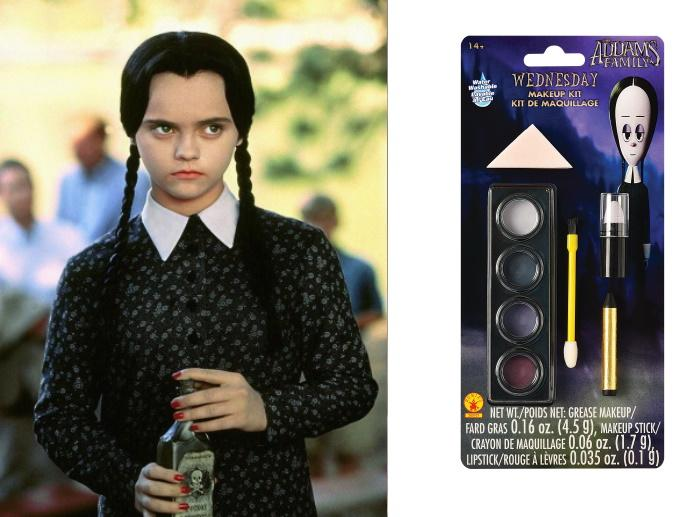 Wednesday Addams in The Addams Family, Wednesday Makeup Kit Accessory. Image via Paramount Pictures, Party City