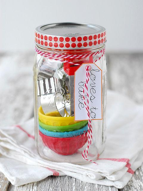 Stuff a jar with some cookie cutters and other baking goods for the baker in your life. [Photo: Pinterest]