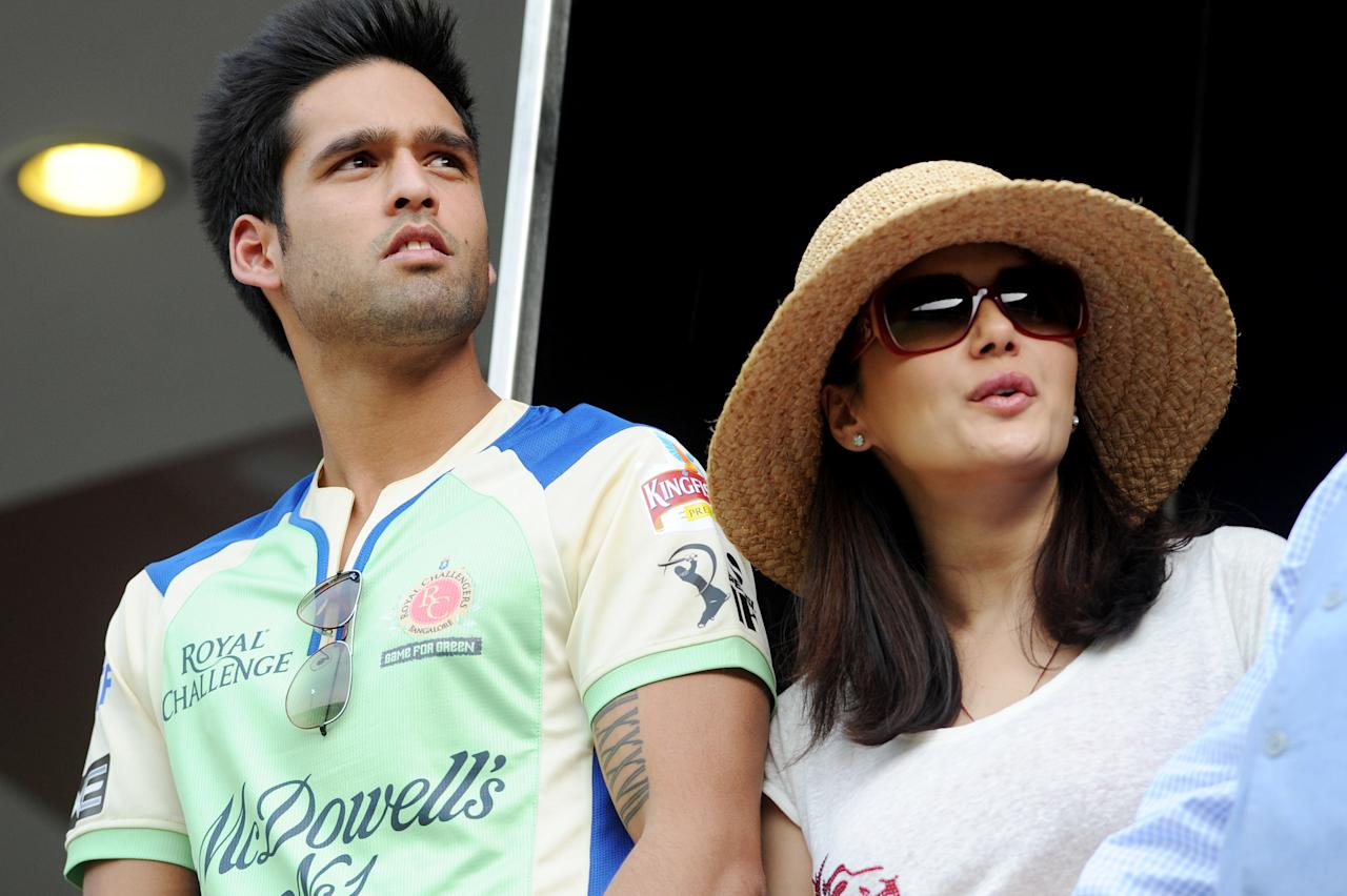 Kings XI Punjab owner Preeti Zinta and Siddarth Mallya during the match between Royal Challengers Bangalore and Kings XI Punjab at Chinnaswamy Stadium in Bangalore on May 14, 2013. (Photo: IANS)