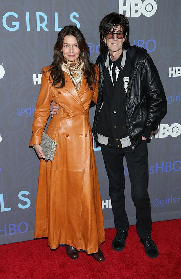 "Paulina Porizkova and Ric Ocasek attend HBO's premiere of ""Girls"" Season 2 at the NYU Skirball Center on January 9, 2013 in New York City."