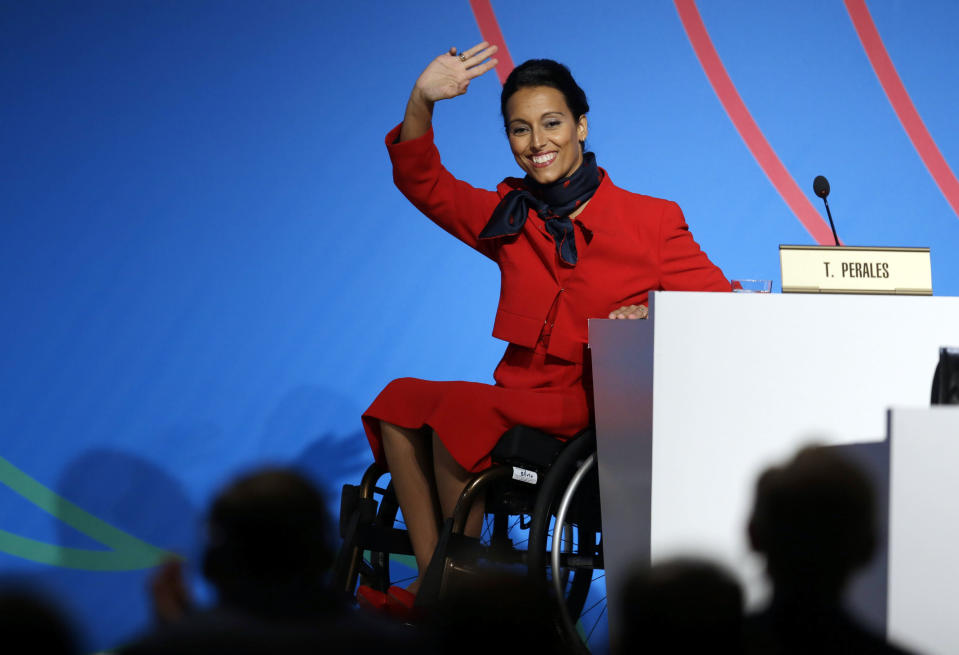 FILE - In this file photo dated Saturday, Sept. 7, 2013, Spain's paralympic swimmer Teresa Perales waves during an IOC session during the Madrid 2020 bid presentation in Buenos Aires, Argentina. Paralympic champion swimmer Teresa Perales has won Spain's annual Princess of Asturias award for sports, it is announced Wednesday June 2, 2021. (AP Photo/Natacha Pisarenko, FILE)