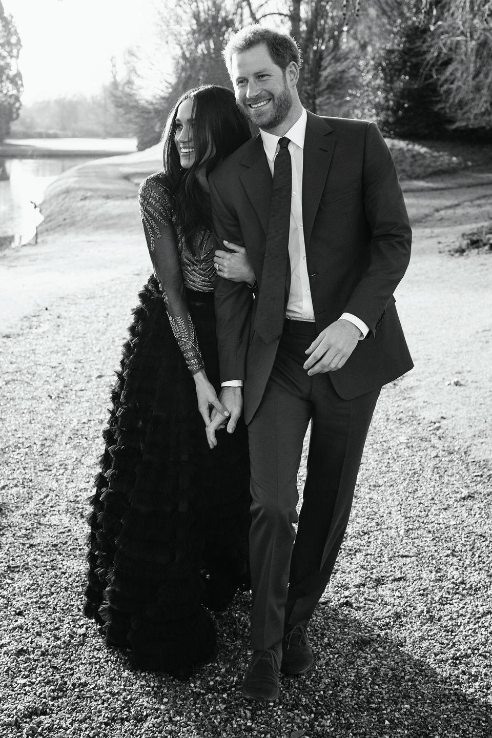 <p>The couple strolls the grounds at Frogmore House.</p>