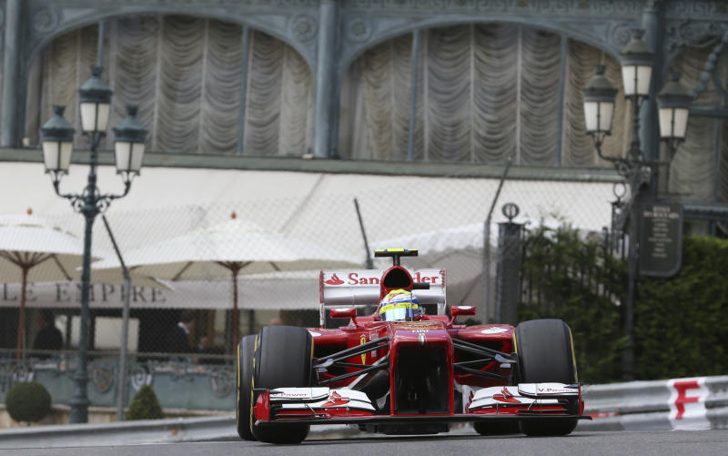 Ferrari driver Felipe Massa of Brazil steers his car during the third free practice at the Monaco racetrack, in Monaco, Saturday, May 25, 2013. The Formula one race will be held on Sunday. (AP Photo/Luca Bruno)