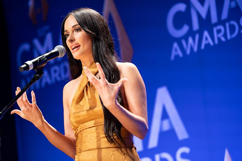Kacey Musgraves speaks at the 53rd Country Music Association Awards at Bridgestone Arena on Nov 13, 2019.