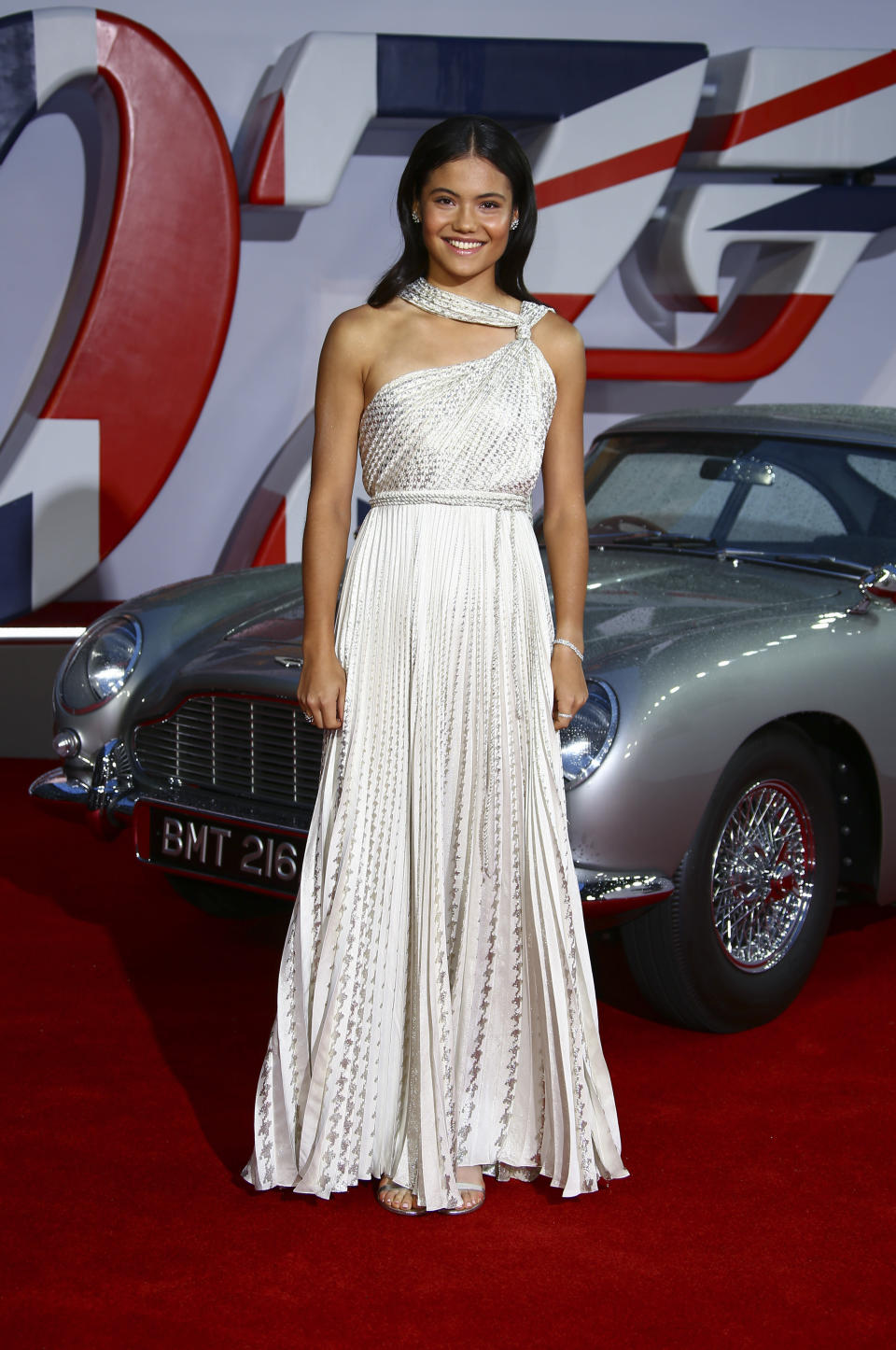 Emma Raducanu poses for photographers upon arrival for the World premiere of the new film from the James Bond franchise 'No Time To Die', in London Tuesday, Sept. 28, 2021. (Photo by Joel C Ryan/Invision/AP)
