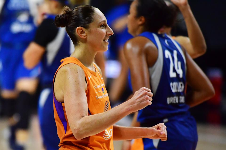 PALMETTO, FLORIDA - SEPTEMBER 17: Diana Taurasi #3 of the Phoenix Mercury looks on at the end of the first half of Game One of their Second Round playoff against the Minnesota Lynx at Feld Entertainment Center on September 17, 2020 in Palmetto, Florida. NOTE TO USER: User expressly acknowledges and agrees that, by downloading and or using this photograph, User is consenting to the terms and conditions of the Getty Images License Agreement. (Photo by Julio Aguilar/Getty Images)