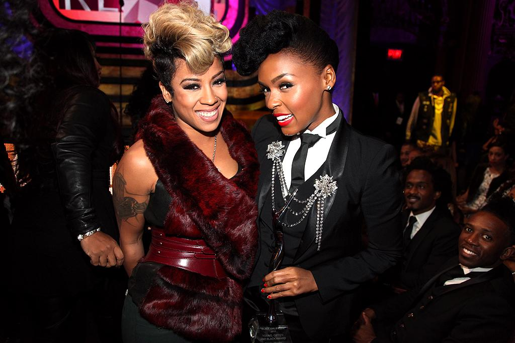 Although they appeared to get along just fine, Keyshia Cole and Janelle Monae had dueling hairdos at the event. Young, Gifted and Black award winner Monae, who loves her pompadour, also had on one of her signature suits when she hit the stage. (10/13/2012)
