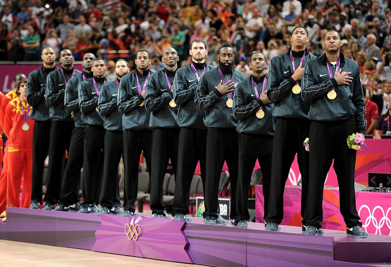 Gold medallists the United States pose on the podium during the medal ceremony for the Men's Basketball on Day 16 of the London 2012 Olympics Games at North Greenwich Arena on August 12, 2012 in London, England.  (Photo by Harry How/Getty Images)