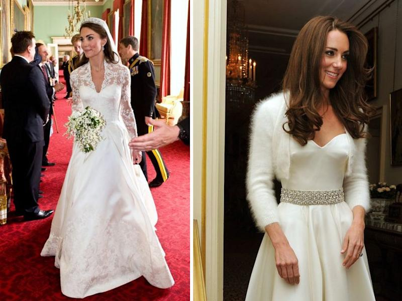 The Duchess of Cambridge's two wedding looks. (Photo: William West/AP Photo; JOHN STILLWELL/AFP via Getty Images)