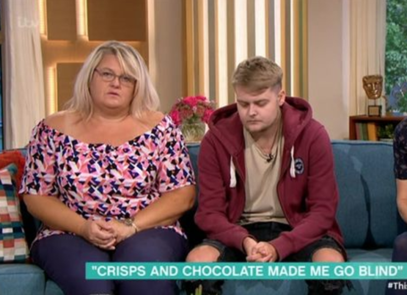 Harvey Dyer, 18, survived on a diet of crisps and chocolate from the age of two. (ITV)