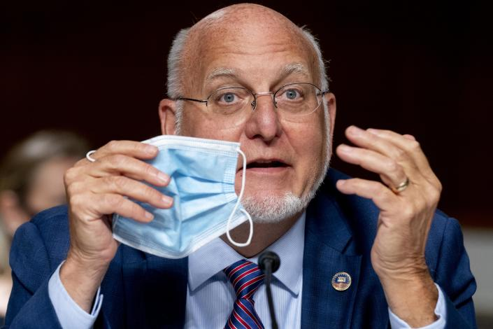 Centers for Disease Control and Prevention Director Robert Redfield at a Senate Appropriations subcommittee hearing on Wednesday. (Andrew Harnik/AFP via Getty Images)