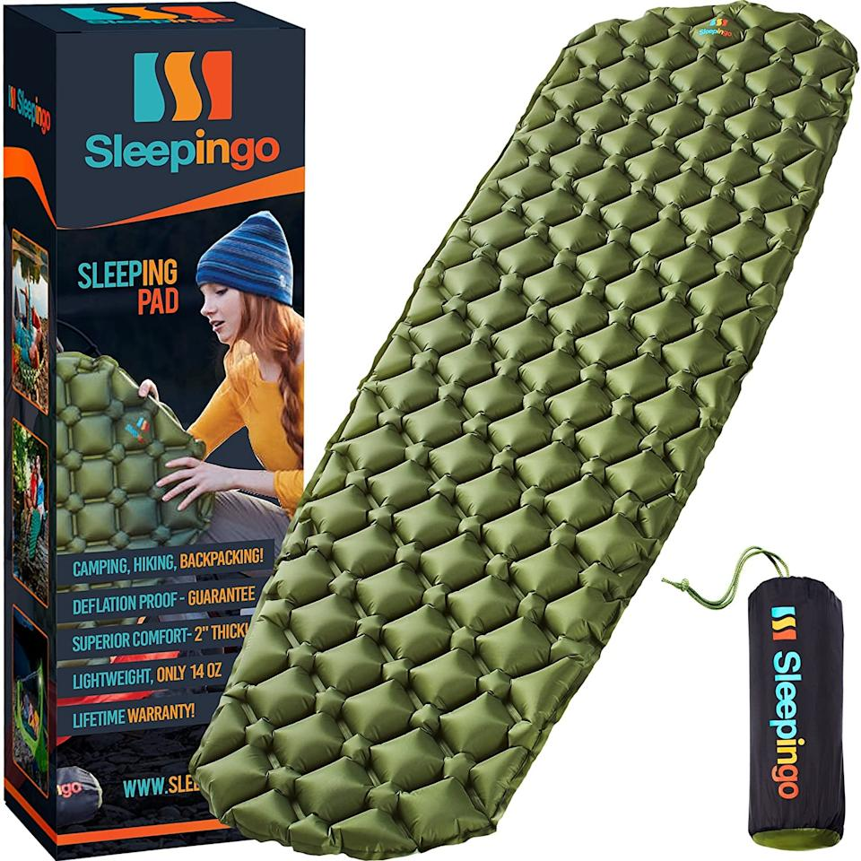 "<p>If you're not sleeping in your bed, you want it to be as comfortable as possible. This <a href=""https://www.popsugar.com/buy/Sleepingo-Camping-Sleeping-Pad-584754?p_name=Sleepingo%20Camping%20Sleeping%20Pad&retailer=amazon.com&pid=584754&price=40&evar1=savvy%3Aus&evar9=47574161&evar98=https%3A%2F%2Fwww.popsugar.com%2Fphoto-gallery%2F47574161%2Fimage%2F47574169%2FSleepingo-Camping-Sleeping-Pad&list1=shopping%2Ccamping%2Csummer&prop13=api&pdata=1"" rel=""nofollow"" data-shoppable-link=""1"" target=""_blank"" class=""ga-track"" data-ga-category=""Related"" data-ga-label=""https://www.amazon.com/Sleepingo-Camping-Sleeping-Pad-Backpacking/dp/B07FP4Z3RZ/ref=sr_1_3?dchild=1&amp;keywords=camping&amp;qid=1593108837&amp;sr=8-3"" data-ga-action=""In-Line Links"">Sleepingo Camping Sleeping Pad</a> ($40) is a definite necessity.</p>"