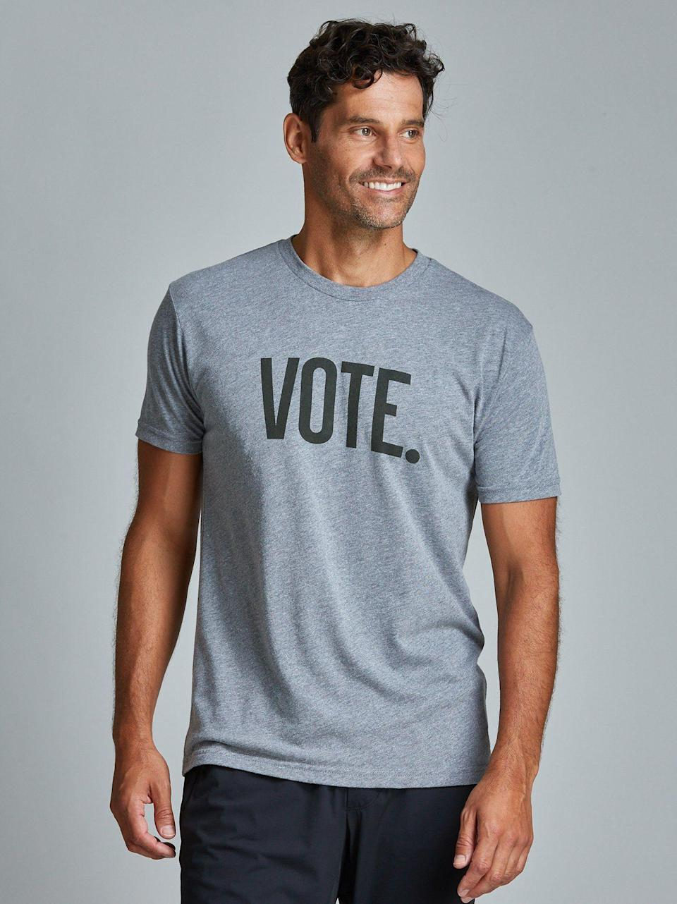 """<p><strong>Fourlaps</strong></p><p>fourlaps.com</p><p><strong>$48.00</strong></p><p><a href=""""https://www.fourlaps.com/collections/new-arrivals/products/vote-signature-tee?variant=31788075745353"""" rel=""""nofollow noopener"""" target=""""_blank"""" data-ylk=""""slk:SHOP IT"""" class=""""link rapid-noclick-resp"""">SHOP IT</a></p><p>Make sure the men in your life are registered to vote and gift them this """"Vote"""" tee from Fourlaps. All proceeds from the tee will go to <a href=""""https://www.headcount.org/"""" rel=""""nofollow noopener"""" target=""""_blank"""" data-ylk=""""slk:HeadCount"""" class=""""link rapid-noclick-resp"""">HeadCount</a>—a nonpartisan organization that """"uses the power of music to register voters and promote participation in democracy.""""</p>"""