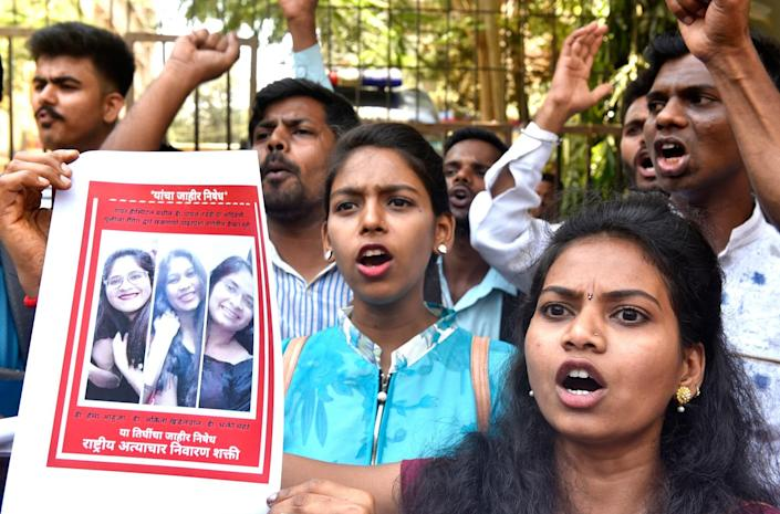 MUMBAI, INDIA - MAY 25: Members of Bahujan Mukti Party protest against the senior doctors of BYL Nair Hospital for suicide of Dr Payal Tadvi who was harassed by her senior doctor at Bombay Central, on May 25, 2019 in Mumbai, India. (Photo by Anshuman Poyrekar/Hindustan Times via Getty Images)