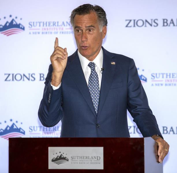 Senator Mitt Romney speaks at the Sutherland Institute in Salt Lake City on Monday, Aug. 19, 2019. Romney says he believes climate change is happening and human activity is a significant contributor.  (Scott G Winterton/The Deseret News via AP)