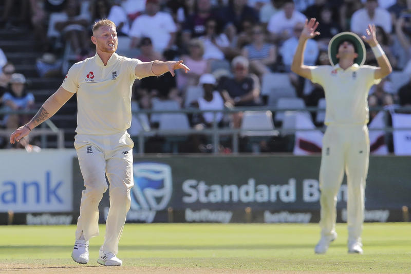 England bowler Ben stokes in action during day two of the second cricket test between South Africa and England at the Newlands Cricket Stadium in Cape Town, South Africa, Saturday Jan. 4, 2020. (AP Photo/Halden Krog)
