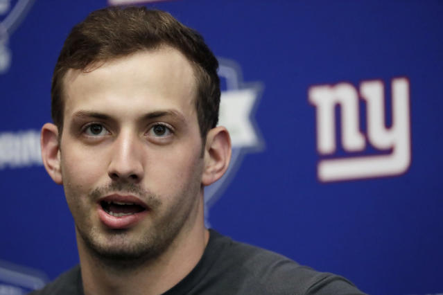 New York Giants quarterback Davis Webb speaks to reporters during NFL football training camp, Wednesday, April 25, 2018, in East Rutherford, N.J. (AP Photo/Julio Cortez)